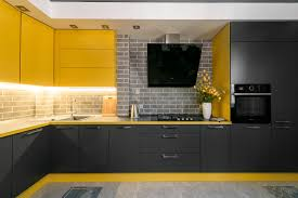 modern kitchen design yellow 75 beautiful yellow kitchen with black appliances pictures