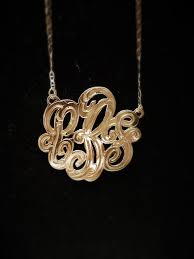 Three Initial Monogram Necklace Hollywood Jewelers 3 Initial Monogram Necklace