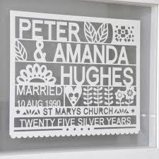 25th wedding anniversary gift personalised 25th silver wedding anniversary gift by ant design