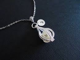 White Gold Initial Disc Necklace Sale Personalized Initial Coin Disc Teardrop Pearl Cage Locket