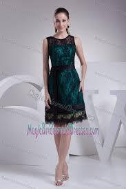 black lace overlay knee length bridesmaid dresses with sash