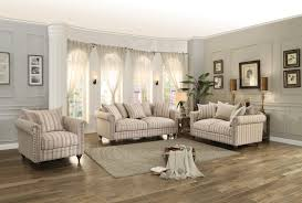Striped Sofas Living Room Furniture Homelegance Hadleyville Sofa Set Polyester Neutral Tone