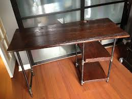 pipe desk with shelves could make this high enough to cover refrigerator and the shelves