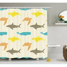 Whale Bathroom Accessories by Sea Animals Decor Pattern With Whale Shark And Turtle Aquarium