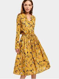 flower dress drawstring waist sleeve floral dress floral midi dresses l