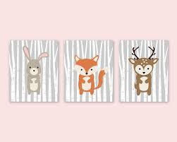 Deer Themed Home Decor Animal Nursery Prints Bunny Fox Deer Nursery Decor Woodland