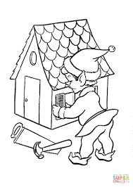 santa elf is working on doll house coloring page free printable