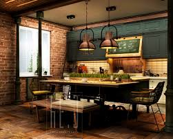 kitchen style brick wall hardwood flooring green paneled cabinets