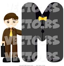 vector of alphabet letter m with a businessman boy by bnp design