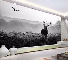 online buy wholesale black and white wall mural from china black 3d wallpaper custom photo silent forest morning fog elk black and white scenery painting 3d wall