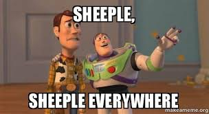 Sheeple Meme - sheeple sheeple everywhere buzz and woody toy story meme