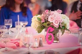 Simple Centerpieces Pink Wedding Reception Decor Simple Centerpieces