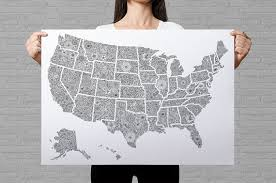 map of us states poster usa travel map poster us map to color in us travel map