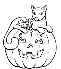 hallowen coloring pages pumpkin halloween black cat coloring pages for kids 00