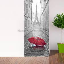 wall decals stickers home decor home furniture diy 3d door wall sticker diy self adhesive decorative mural scene eiffel tower