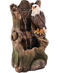 l with water fountain base get the deal eagle on weathered tree base outdoor water fountain