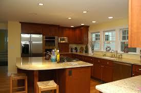 awesome u shape traditional wooden kitchen decoration using cream