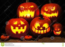 halloween night scene with spooky jack o lanterns stock photo