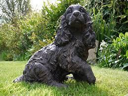 cocker spaniel cast iron effect garden statue bronzed effect