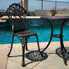 PC Bistro Set In Antique Outdoor Patio Furniture Leaf Design Cast - Antique patio furniture