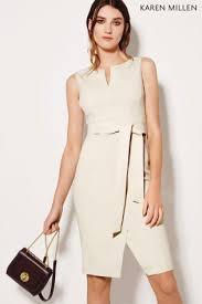 Buy Karen Millen Ivory Waist Detail Pencil Dress From The Next Uk