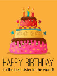 to the best sister happy birthday cake card birthday