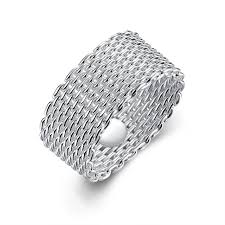 large metal rings images Large size silver color weaving ring metal braided net ring casual jpg