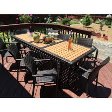 roche dark brown 9 piece wicker extendable dining set outdoor