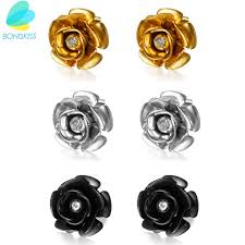 earrings for women aliexpress buy boniskiss gold flower earrings stud earrings
