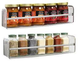 Kitchen Cabinet Spice Rack Organizer Amazon Com Decobros 2 Pack Wall Mount Single Tier Mesh Spice Rack