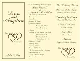 wedding program format template wedding program template for word ceremony portrait