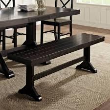 walker edison dbw1bl antique black distressed wood dining bench