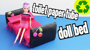 How To Make Homemade Dollhouse Furniture How To Make A Doll Bed With Toilet Paper Rolls Super Easy Doll