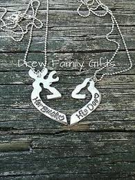 Buck And Doe Couples Necklace His Her Buck Doe Head Interlocking Necklace 2 Pc Set New Browning