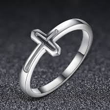 fashion cross rings images Genuine 100 925 sterling silver symbol of faith cross rings for jpg