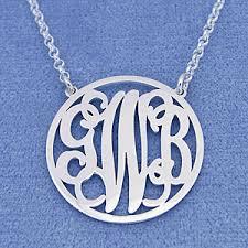 Monogram Necklace Silver Silver 3 Initials Circle Monogram Necklace 1 Inch Diameter