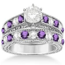 Amethyst Wedding Rings by Antique Diamond U0026 Amethyst Bridal Wedding Ring Set Palladium 2 75ct