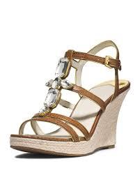 lyst michael michael kors jayden jeweled wedge sandal in brown