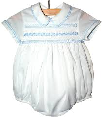 baby boy smocked romper with feather stitching on