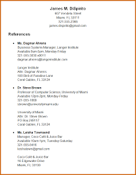 Resume Reference Page Format How To Write Resume References Sample Babysitter Resume How To