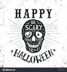 hand drawn happy halloween lettering skull stock vector 316586528