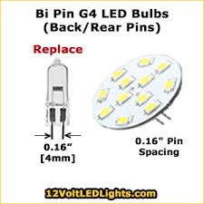 g4 12 volt led bi pin bulbs 2 pins