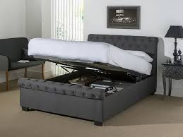 ottoman beds with mattress snuggle beds eleanor dark grey fabric sprung slatted ottoman bed