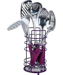 buy colourmatch stainless steel 5 pc kitchen utensils set purple