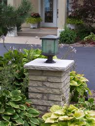 Landscaping Solar Lights by Mortared Stone Pillar With Landscape Lighting Columns U0026 Pillars