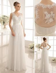 milanoo robe de mariã e vestido de noiva marfim linha a em renda e chiffon decote v