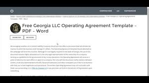 free georgia llc operating agreement template u2013 pdf u2013 word youtube