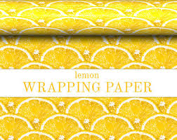 yellow wrapping paper lemon wrapping paper etsy