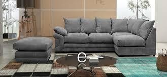 Fernando Corner RHF With Footstool Fernando Fabric Grey Fabric - Sofa and footstool