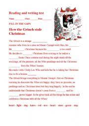 esl kids worksheets how the grinch stole christmas